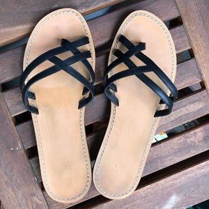 Leather Strapy sandals Black Flip Flop